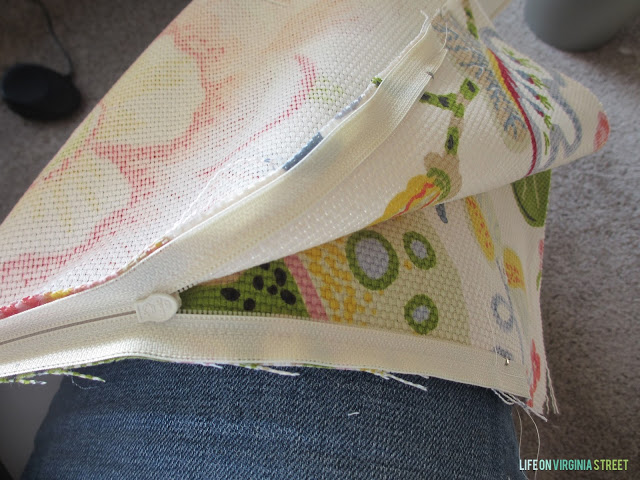 The pillow all sewed up with the zipper in.