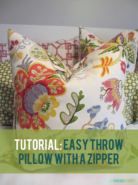 Easy Throw Pillow With a Zipper Tutorial poster.