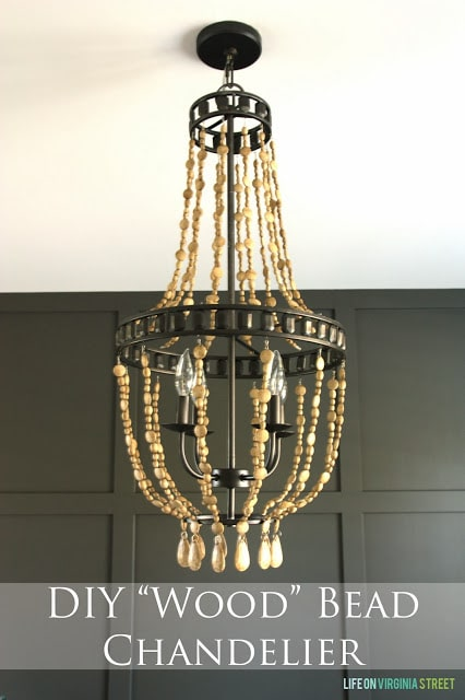 DIY wood bead chandelier using chalk paint poster.