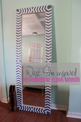 West Elm inspired herringbone floor mirror poster.