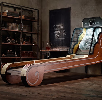 Wooden skee ball game.