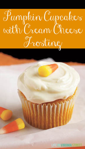 Pumpkin cupcakes with cream cheese frosting poster.
