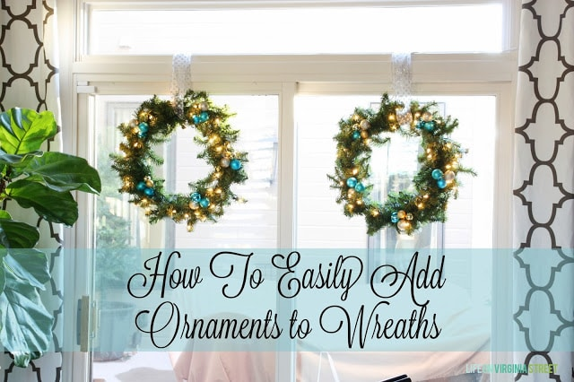 How to easily add ornaments to wreaths poster.