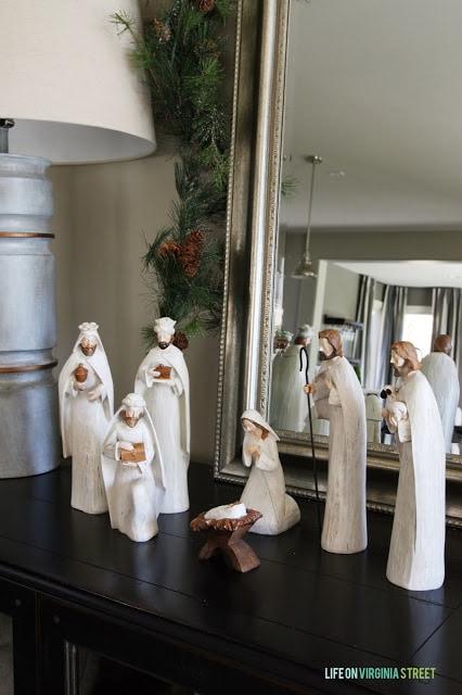 Nativity scene on a table.