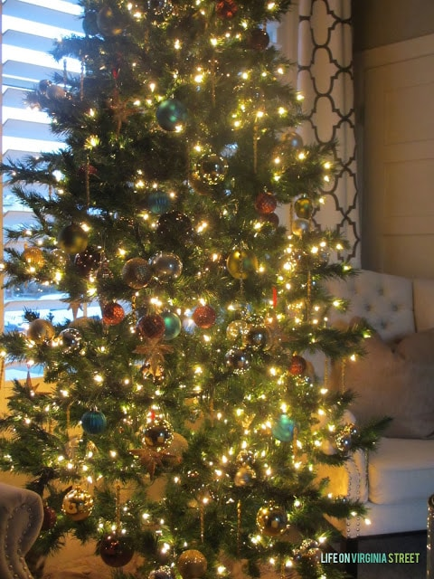 The large decorated tree in the office area.