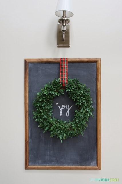 DIY Christmas Chalkboard with Wreath - beautiful decor for the holiday season!