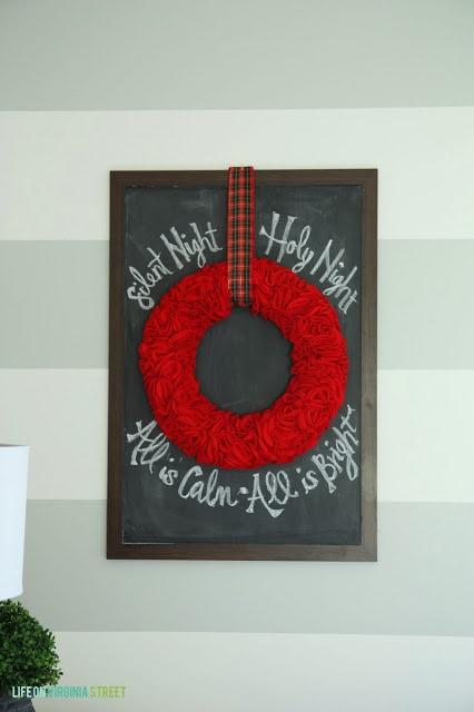 DIY Christmas Chalkboard and Wreath
