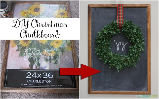 DIY Christmas Chalkboard Tutorial from a Poster Frame