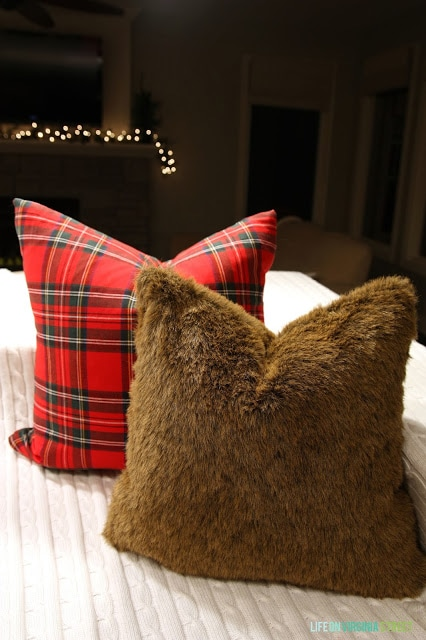 DIY Red plaid and faux fur pillow