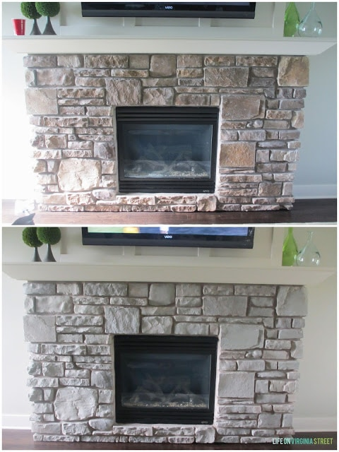 Gray-Washed Stone Fireplace Before & After