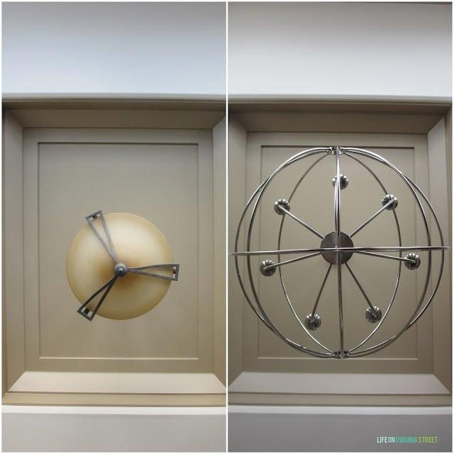The round globe metal lighting.