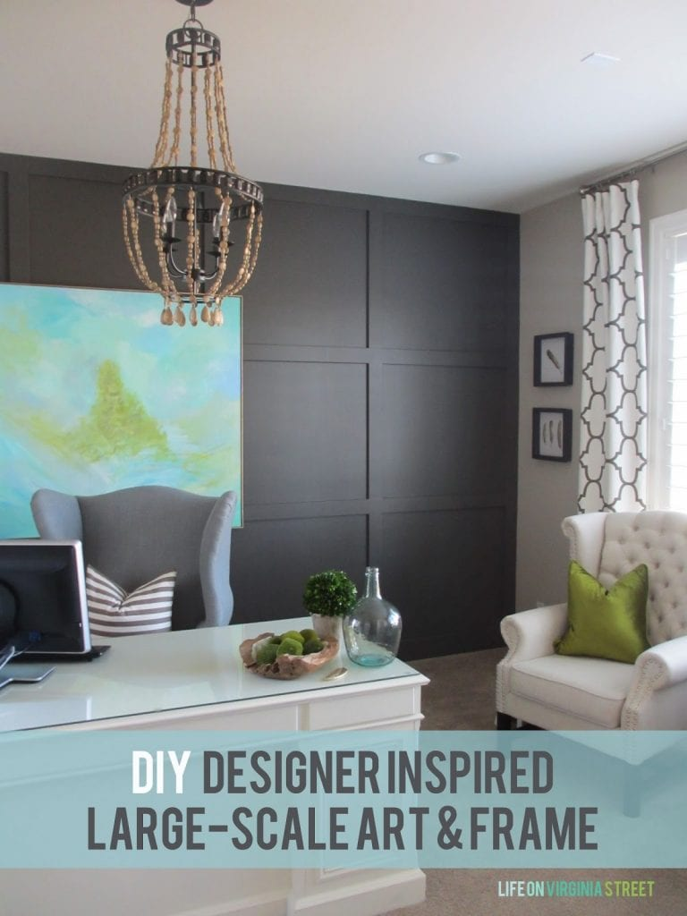 DIY designer inspired large-scale art & frame. Such a gorgeous way to get custom artwork in your home! Love the blue and greens in this abstract painting.