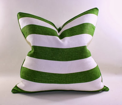 Green and white striped pillow.