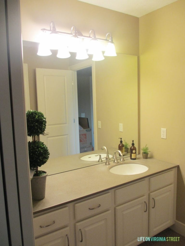 The before photo of our Jack & Jill bathroom, prior to renovation.