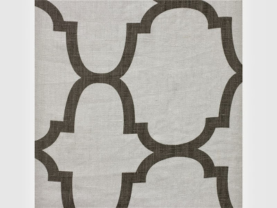 A patterned fabric in white and brown.
