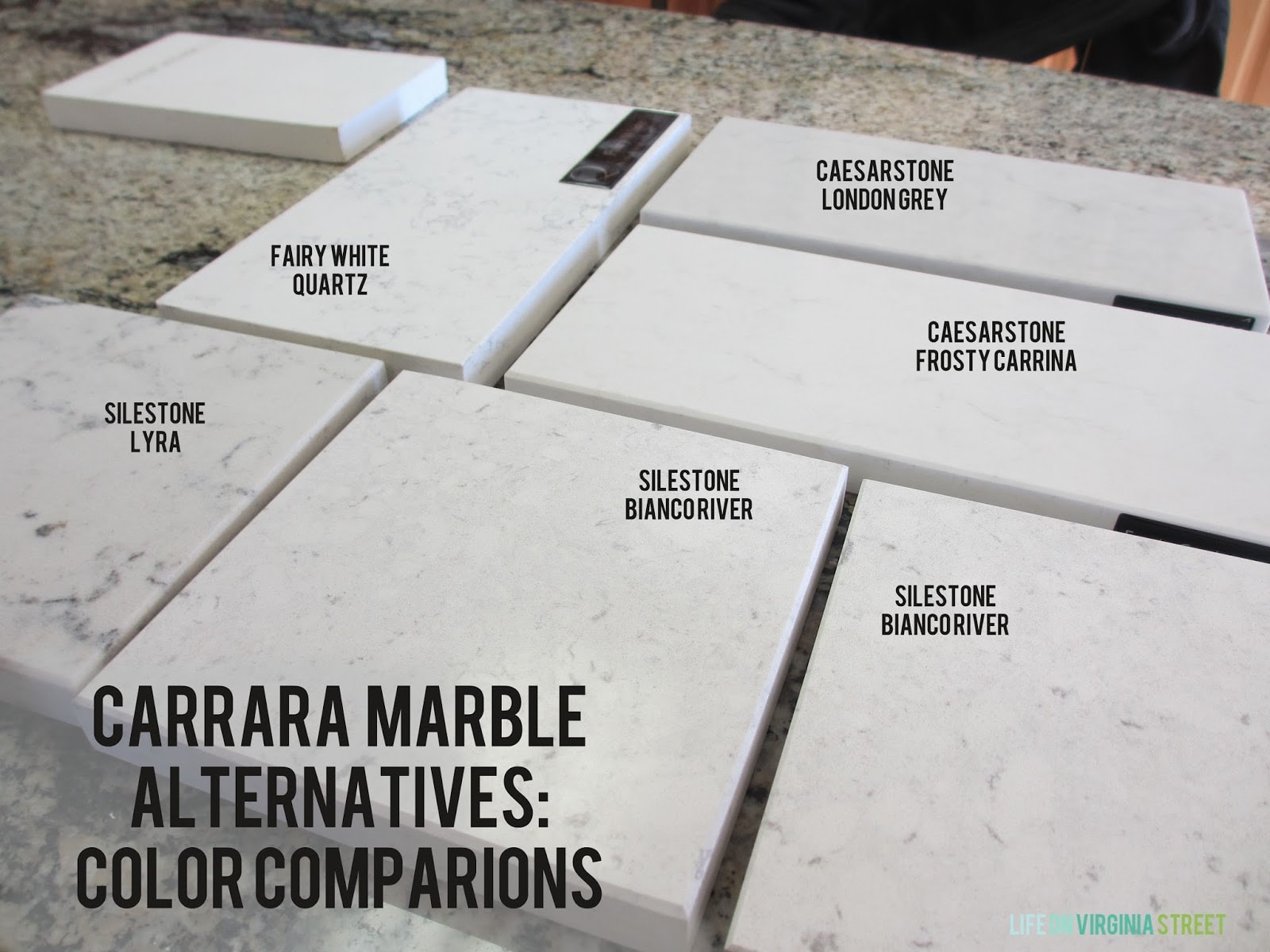 Carrara marble alternatives color comparisons. This is really helpful for finding a more durable alternative!