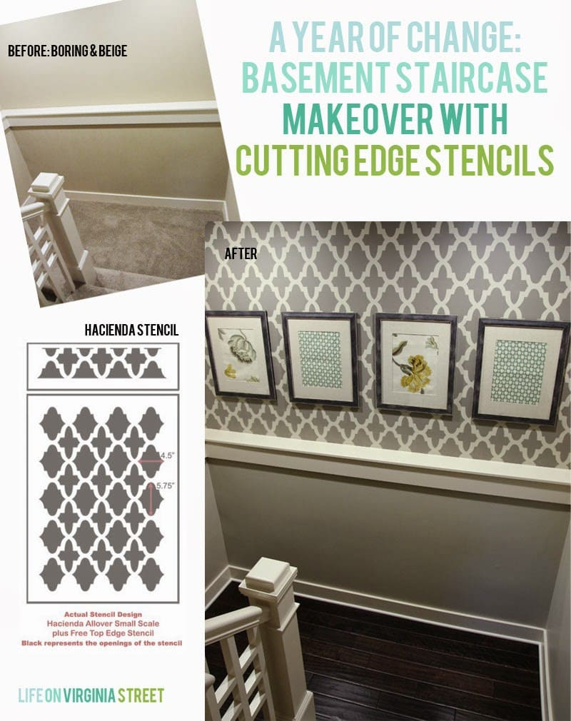 A year of change, basement staircase makeover with cutting edge stencils graphic.