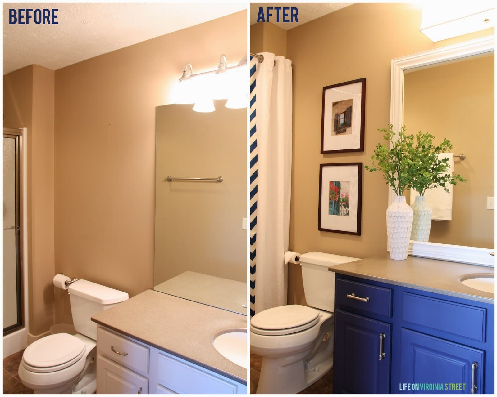 guest bathroom makeover before and after - Bathroom Cabinets Before And After