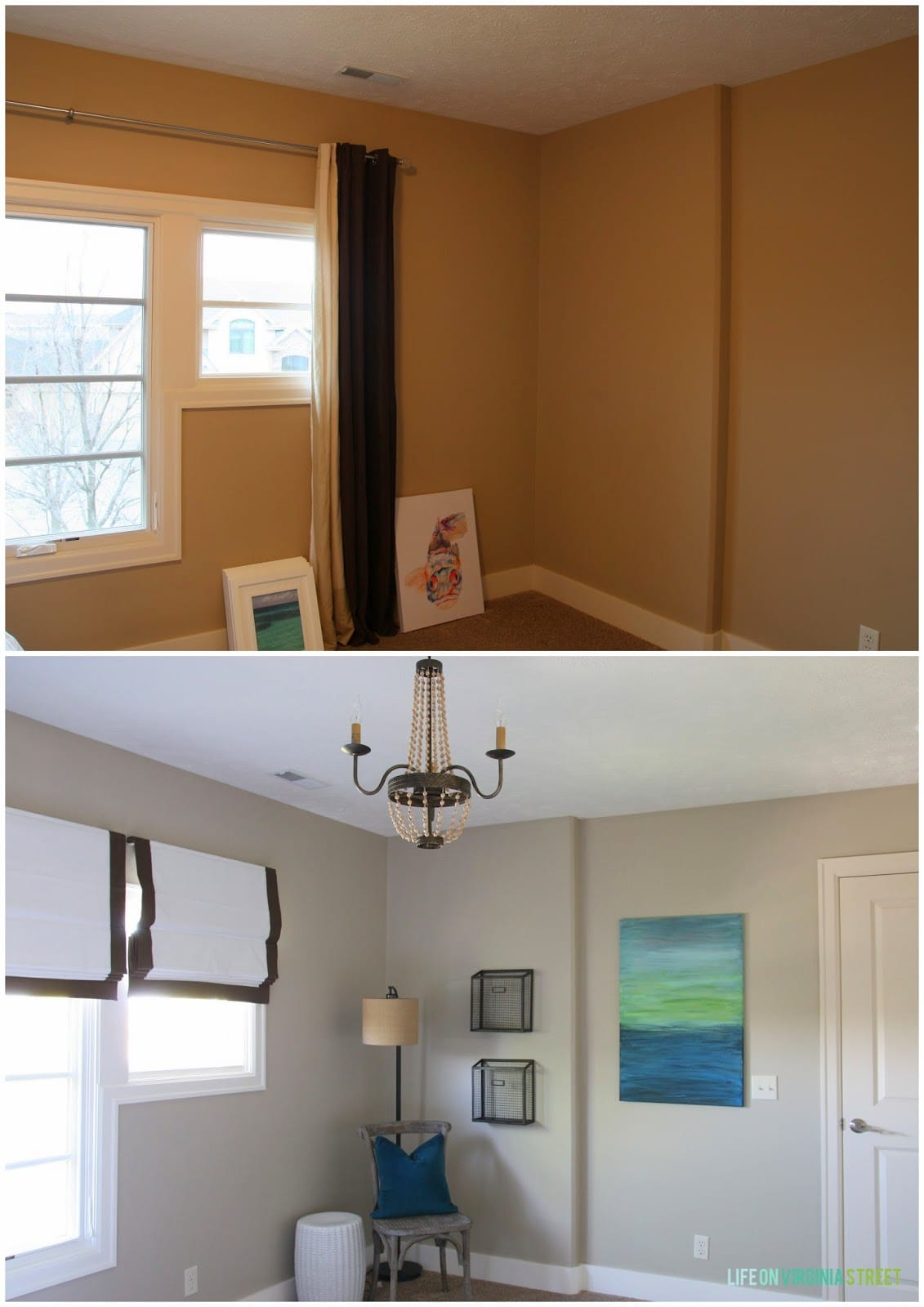 What a difference paint, lighting and window treatments make. Our guest room looks so much larger after the update.