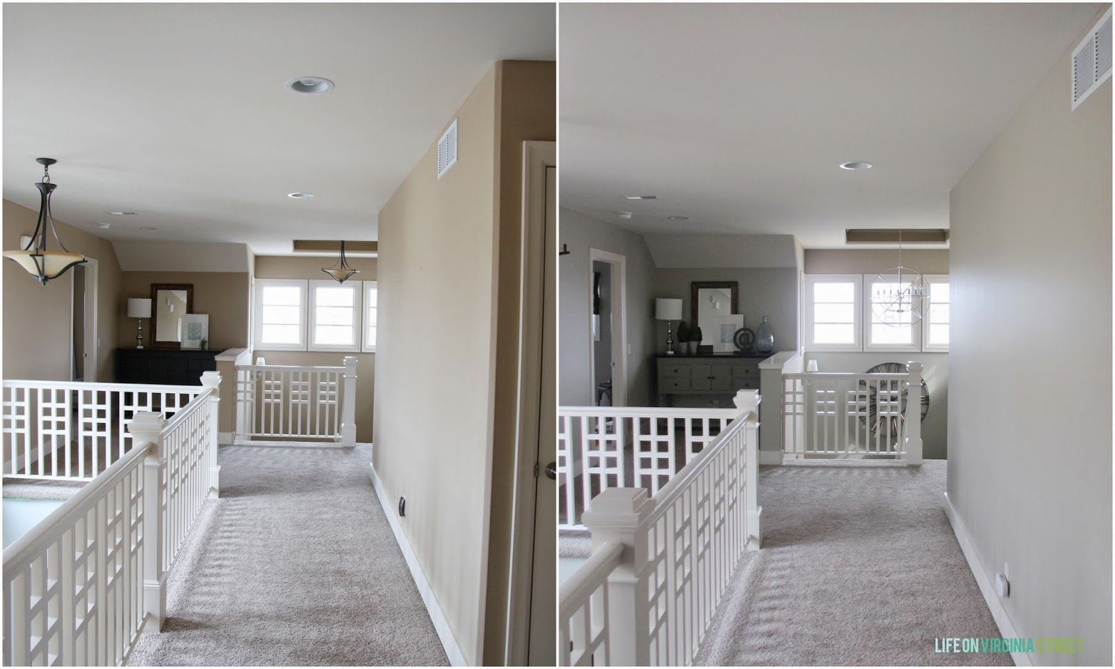 Left - before, and right - after a coat of Behr Castle path paint. Love how much lighter the space looks already.