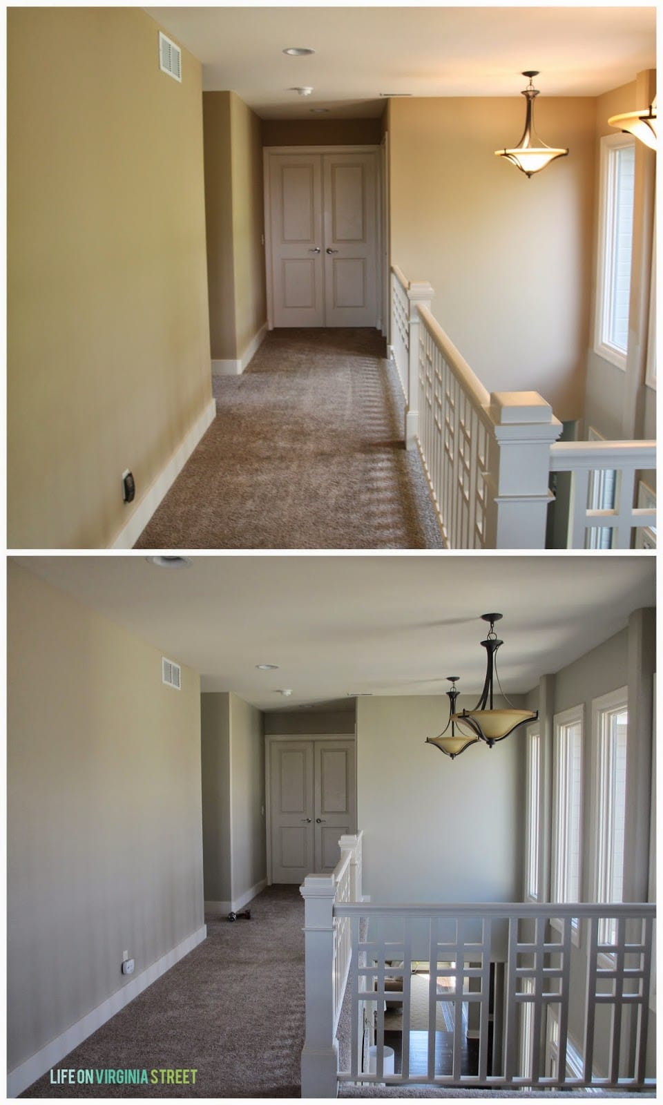 Our upstairs hallway makeover - the top picture is before and the bottom picture is after a new paint job.