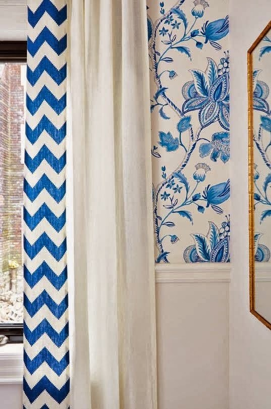 Sarah Richardson image of a blue and white curtain, used as design inspiration.