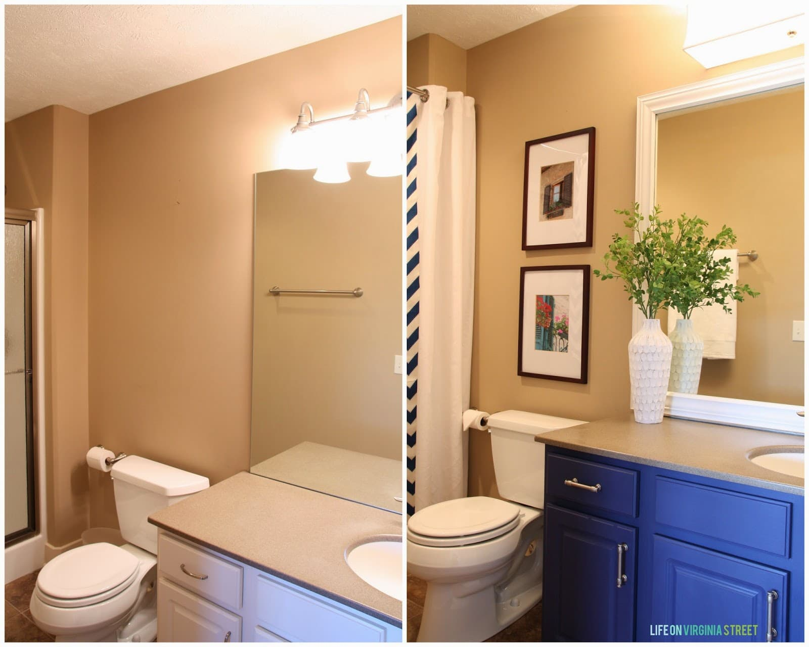Framing A Bathroom Mirror Before And After guest bathroom: lighting and framing a builder-grade mirror