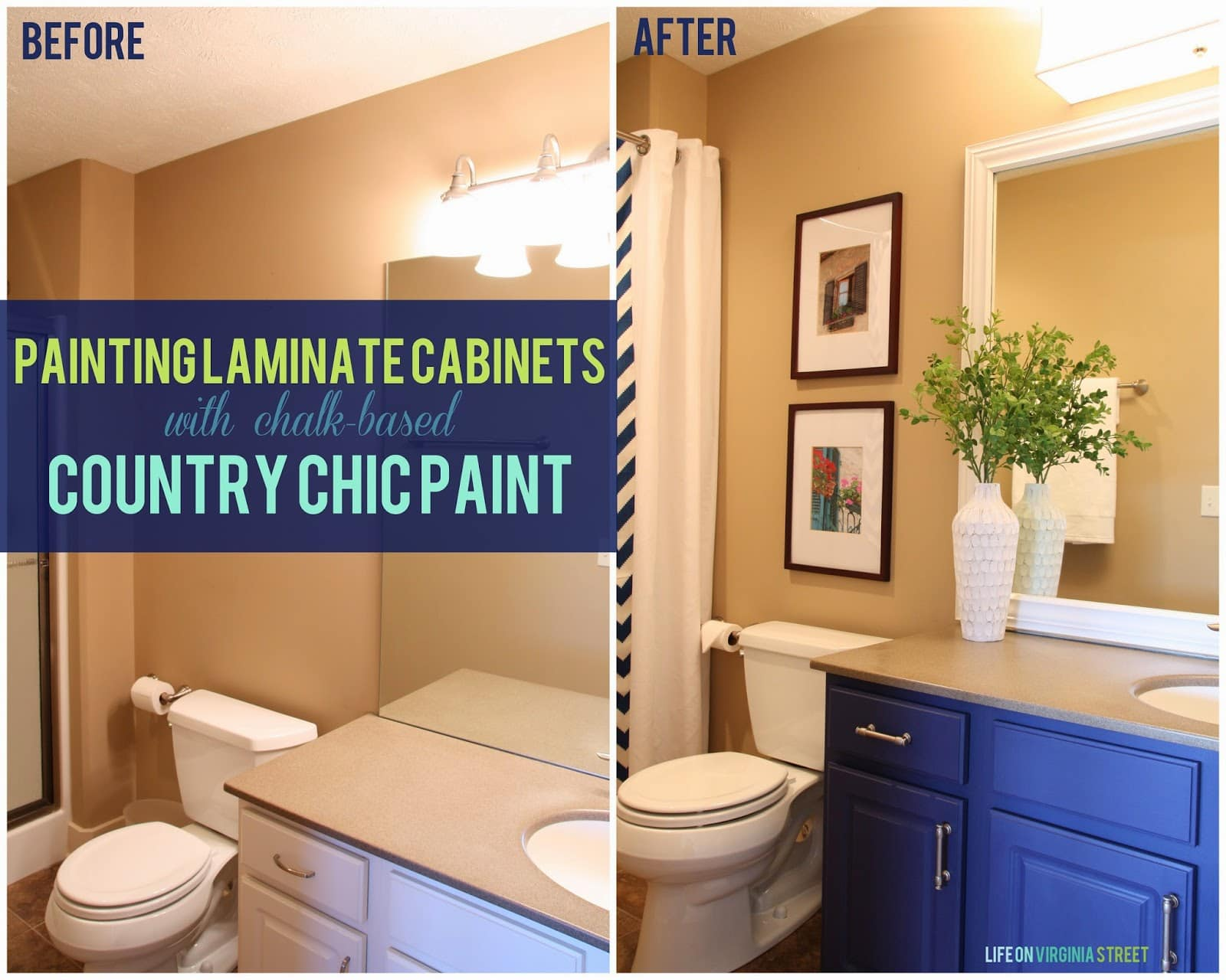 Painted laminate cabinets before and after