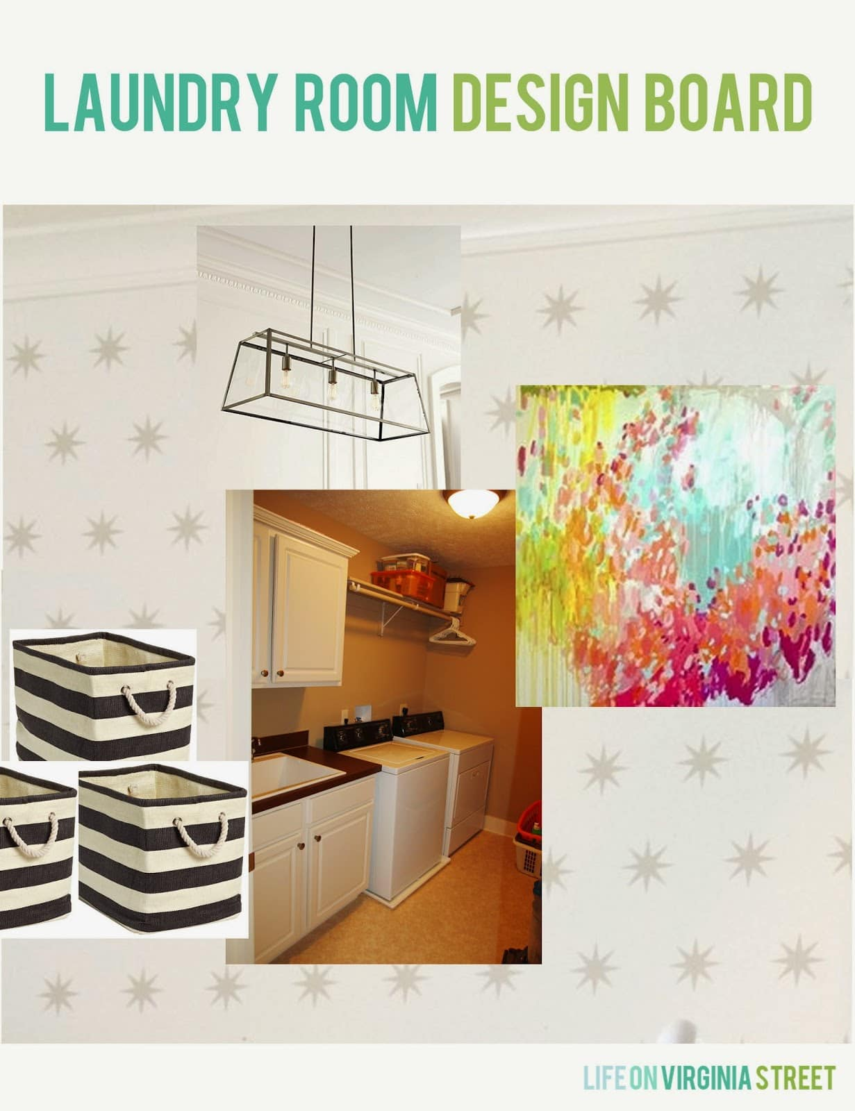 Bright and cheerful laundry room design board.