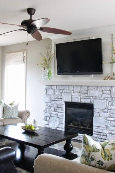 White-Washed Stone Fireplace