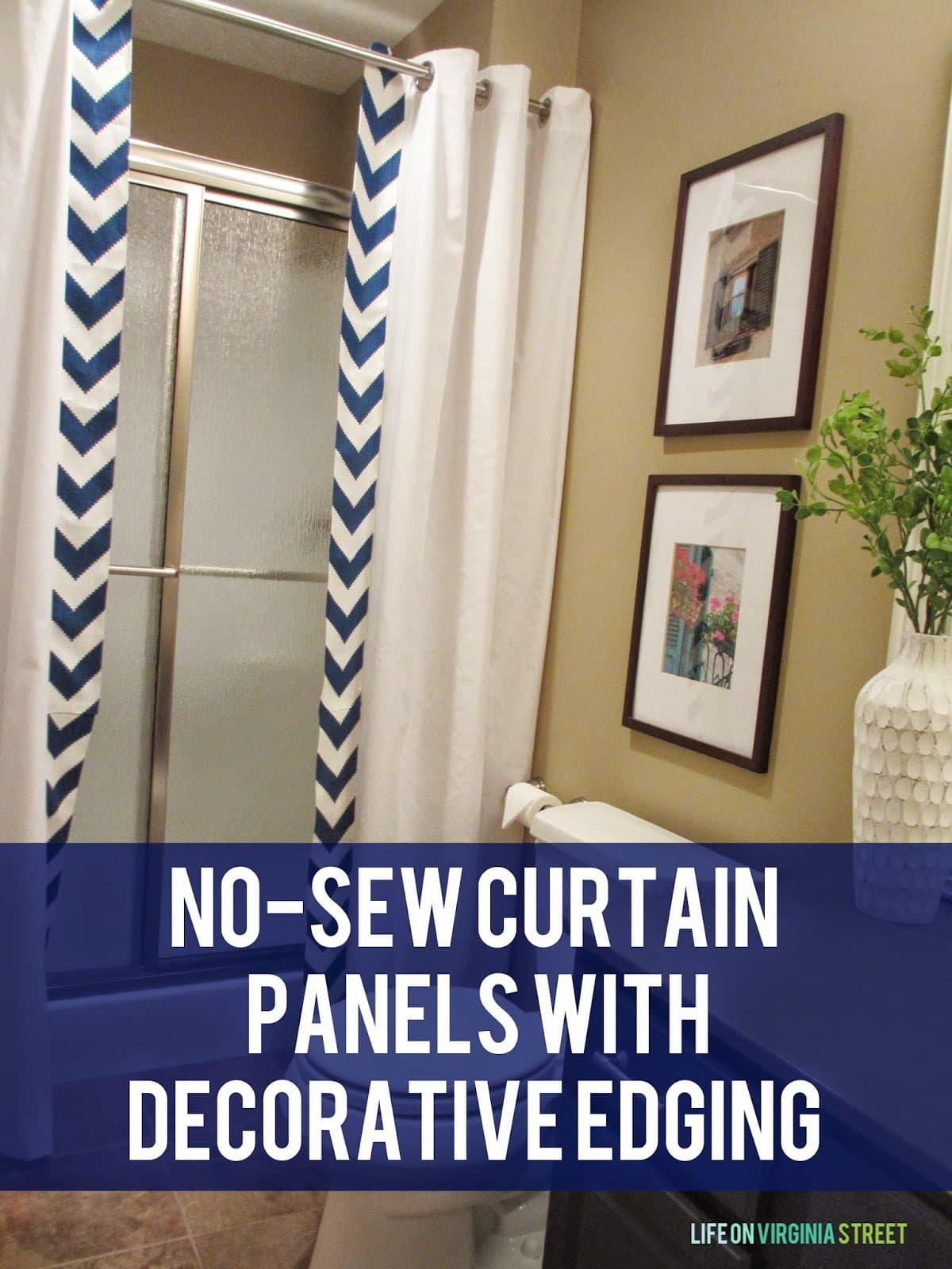 Fun no-sew shower curtain panels with decorative edging to update our guest bathroom! Easy DIY tutorial.