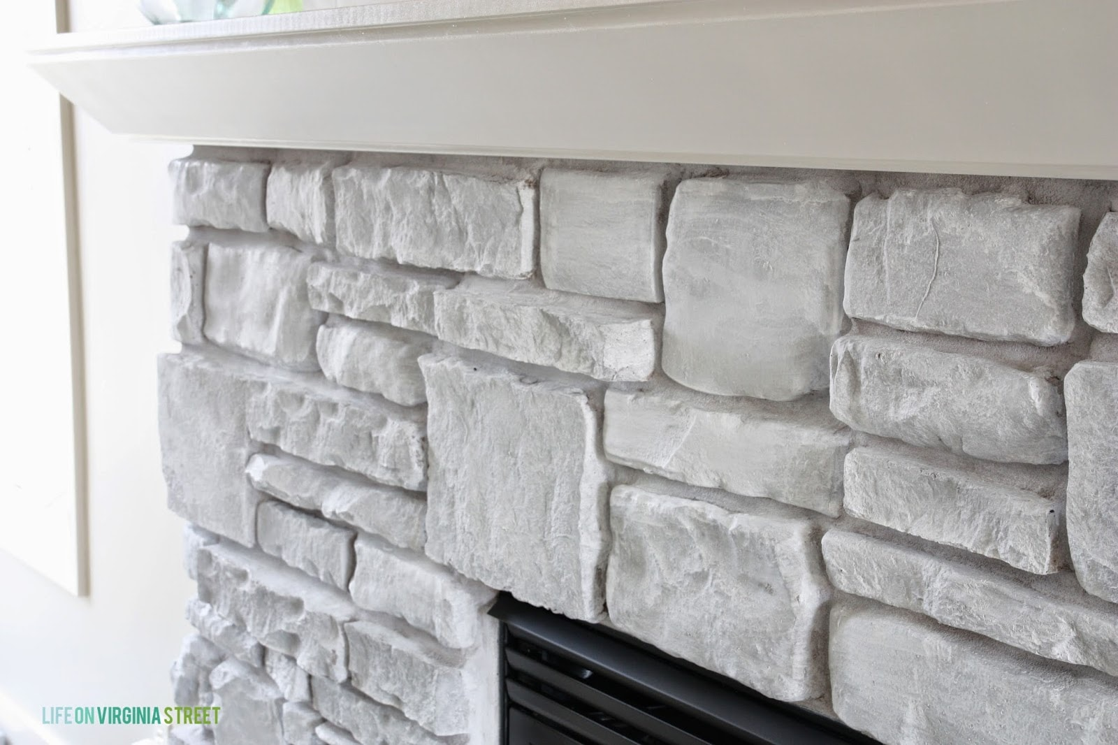 Detail shot of our white-washed fireplace stone.
