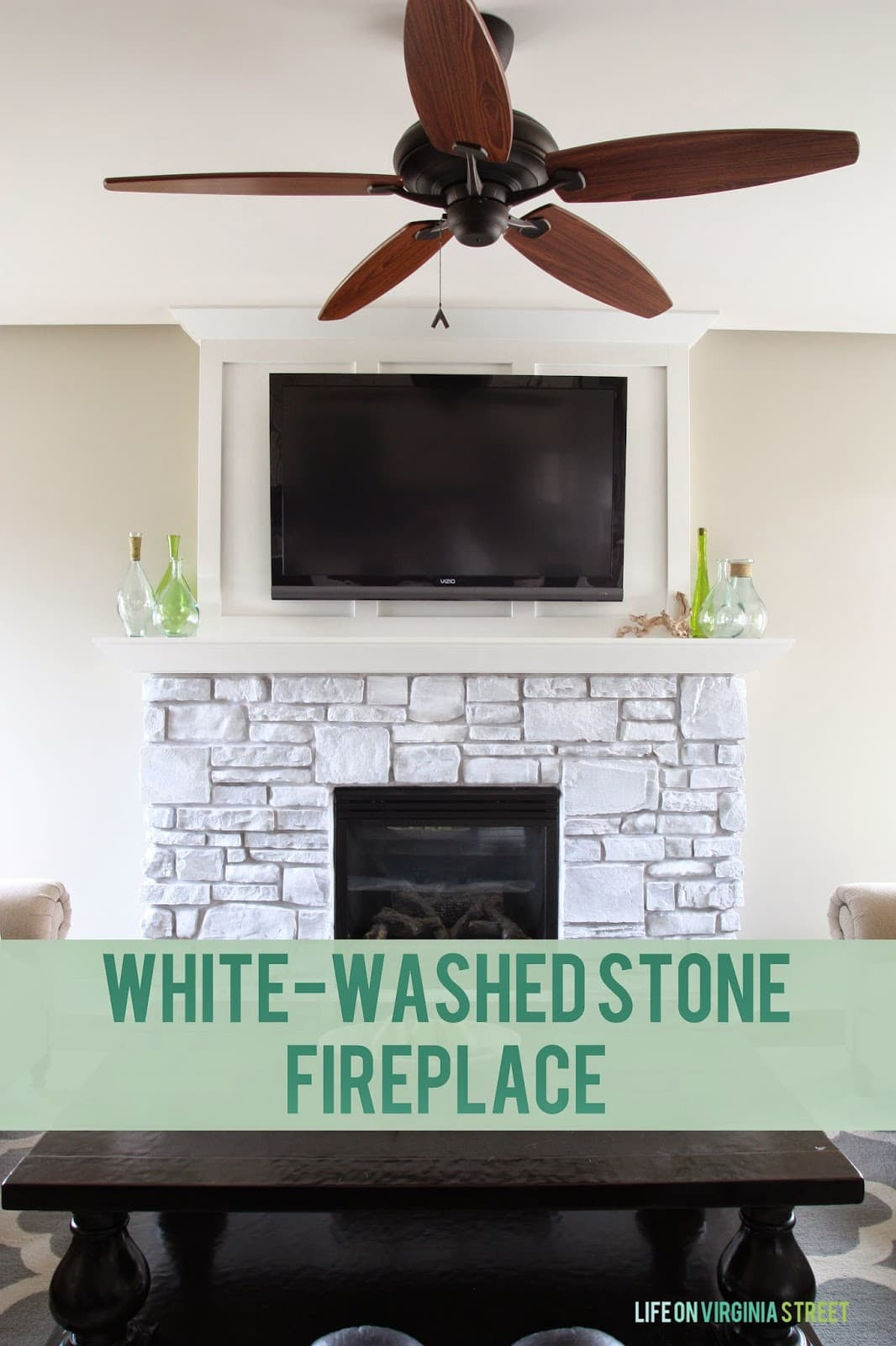 A detailed tutorial on how to whitewash stone on your fireplace. Take date stone from blah and boring to bright and modern!