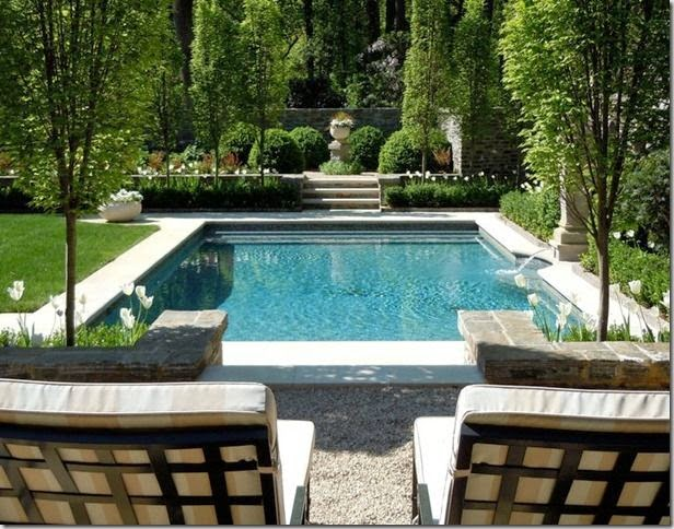 The tiered levels of landscaping around this pool are my favorite design element.