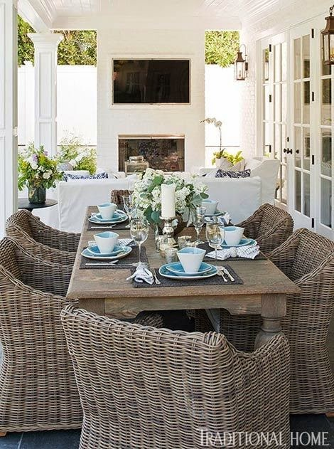 This outdoor patio is something we would perhaps like to replicate, including putting up a fireplace for more privacy.