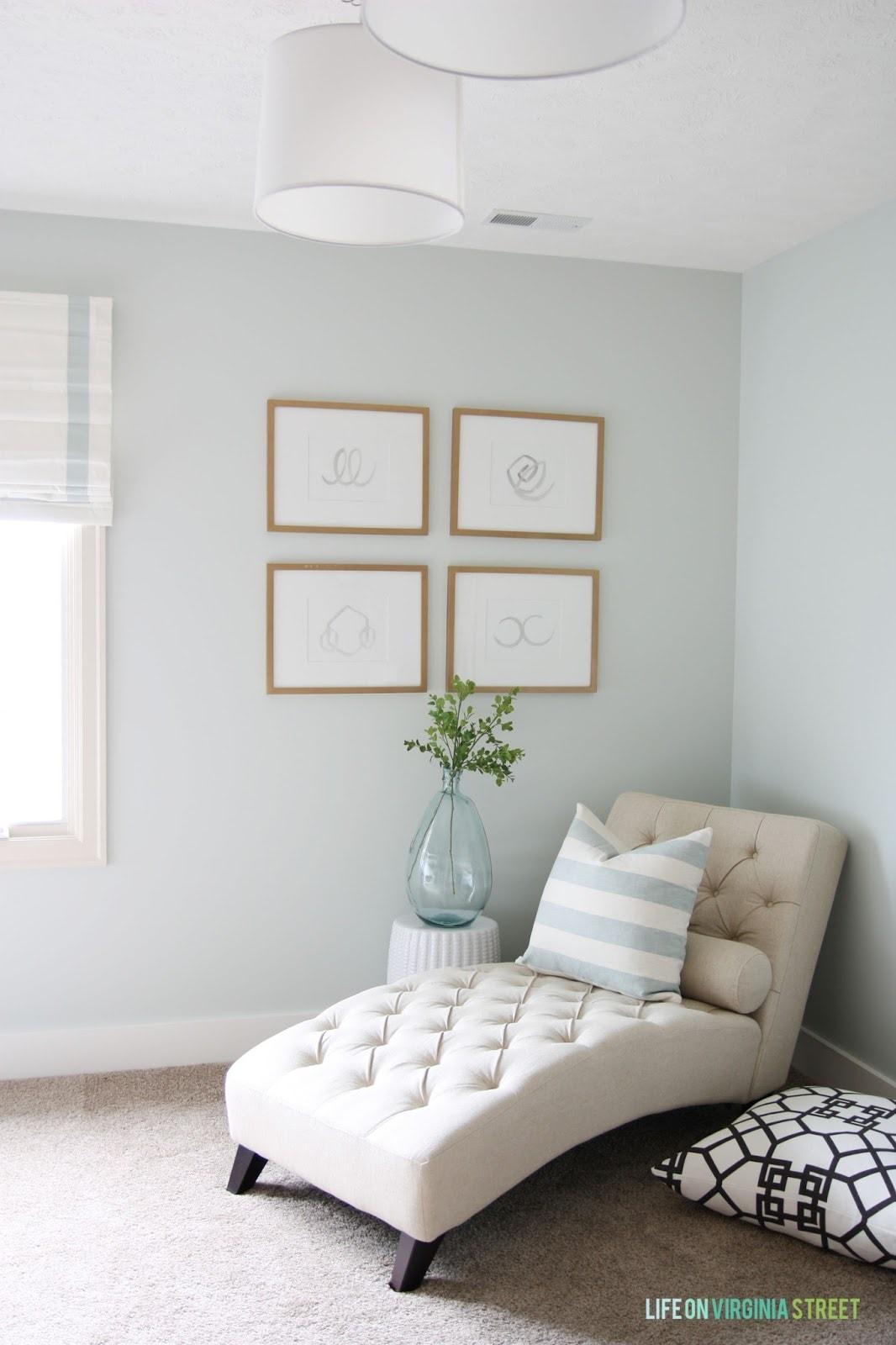 Coastal craft room with Benjamin Moore Healing Aloe walls. I'm loving the soft bluish-green pale walls!