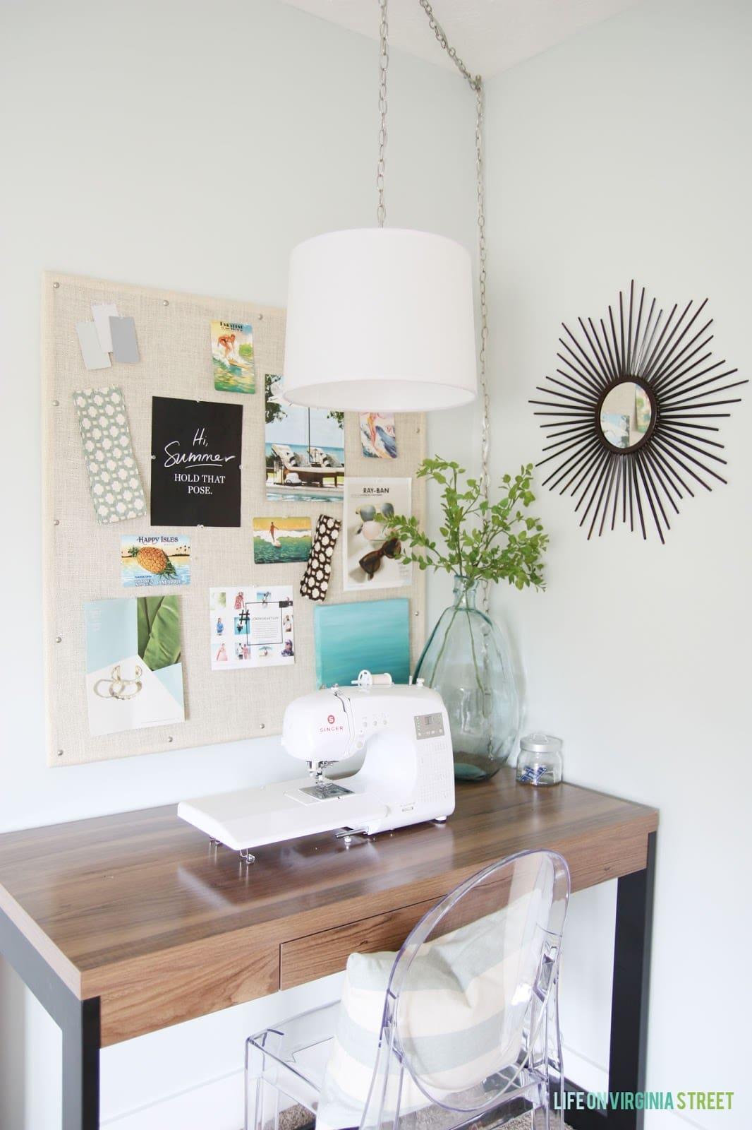 Craft room with walls painted Benjamin Moore Healing Aloe