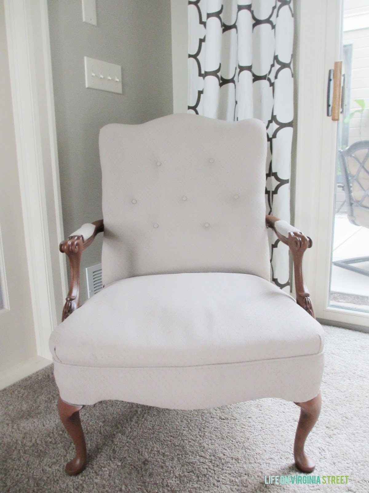 Painted Fabric and Wood Chair. I had no idea painted fabric could look this beautiful!