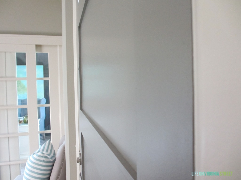 front door sheen - gray painted door