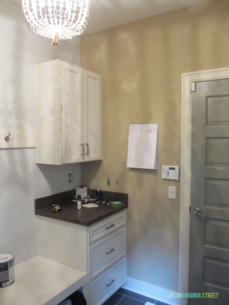 Mudroom Gray Painted Door And Paint Sample