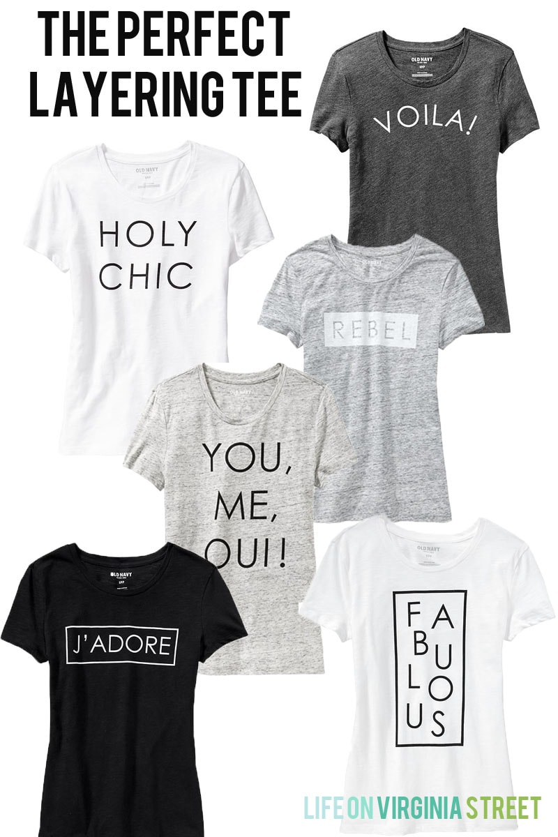 The perfect tee pictured in black, white or gray.