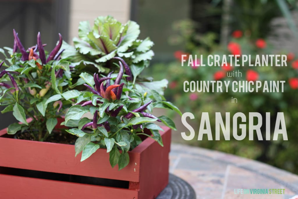 Fall crate planter with country chic paint.