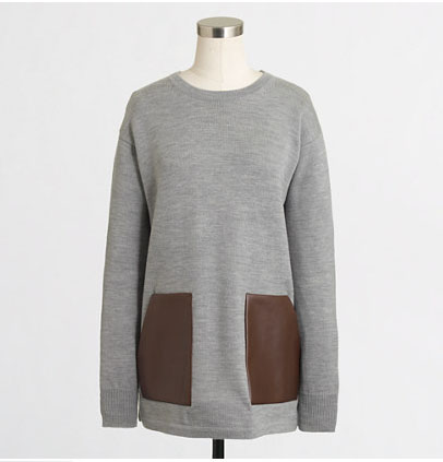 J Crew sweater with leather pockets