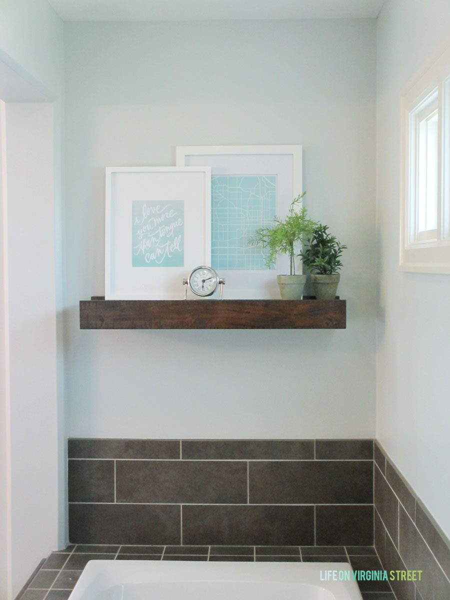 Master Bathroom Rustic Wood Shelf Life On Virginia Street