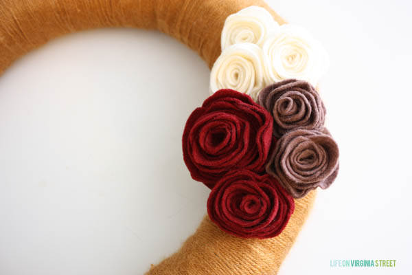 yarn and felt flower wreath
