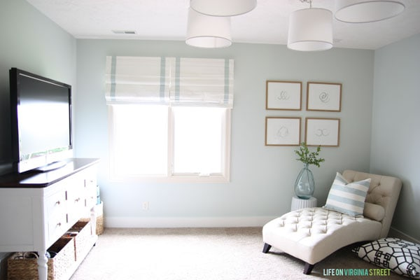 Craft room makeover with painted furniture and Healing Aloe by Benjamin Moore walls
