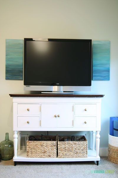 Painted buffet table using Country Chic Paint chalk-based paint in Simplicity
