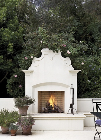 Beautiful white outdoor fireplace