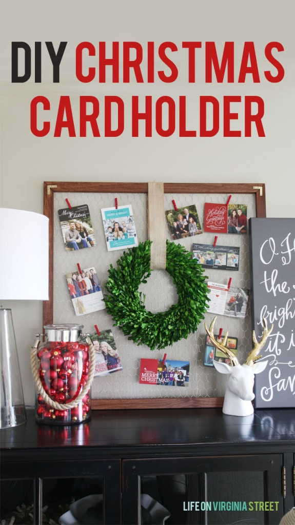 DIY Christmas Card Holder Tutorial poster.