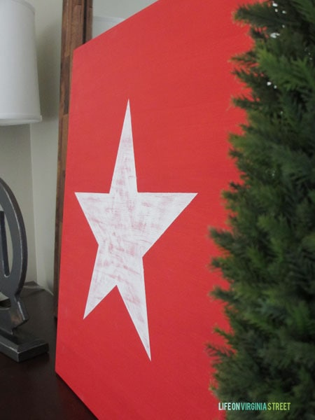 Red and White Christmas Star side view.